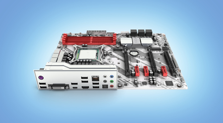 Motherboard with realistic chips and slots isolated on blue gradient background 3d render