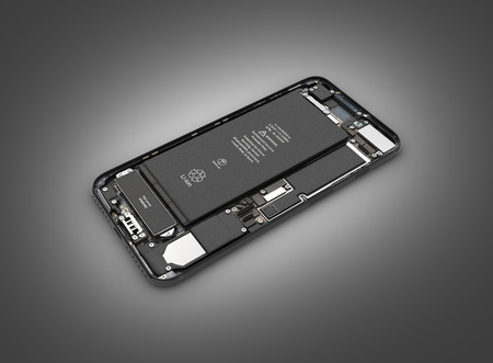 Smartphone in the open state Smartphone components assembly isolated on black gradient background 3d illustration