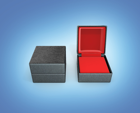 Gift box with red material inside on blue gradient background 3d illustration