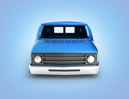body van with no wheel isolated on blue gradient background 3d front view