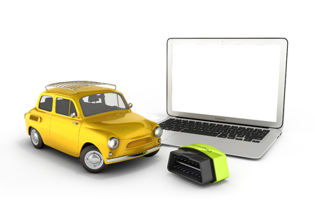 Car diagnostic concept Close up of laptop with empty screen OBD2 wireless scanner and retro car on white background 3d illustration