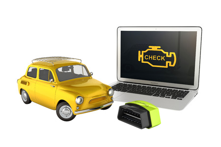 Car diagnostic concept Close up of laptop with OBD2 wireless scanner and retro car on white background 3d illustration without shadow
