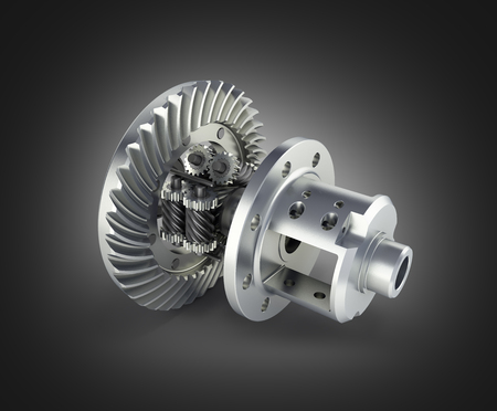 The differential gear in detal on black gradient background 3d illustration Фото со стока