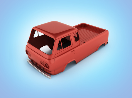 body van with no wheel isolated on blue gradient background 3d