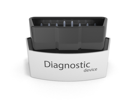 OBD2 wireless car scanner isolated on white background 3d illustration