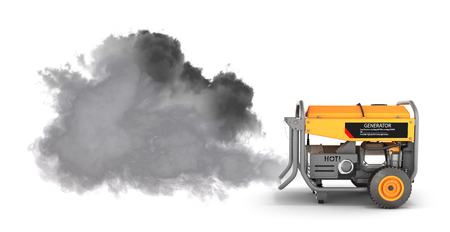Ecology concept Illustration of pollution by exhaust gases Portable gasoline generator producing a lot of smoke isolated on a white background 3d render Stock Photo