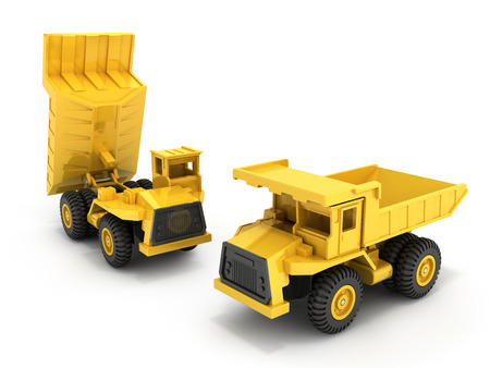 Yellow toy dump truck isolated on white background 3d render