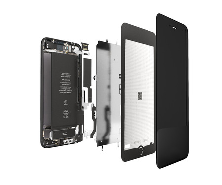 Smartphone im geöffneten Zustand Illustration von Smartphone-Komponenten isoliert auf weißem Hintergrund 3D-Rendering ohne Schatten Standard-Bild