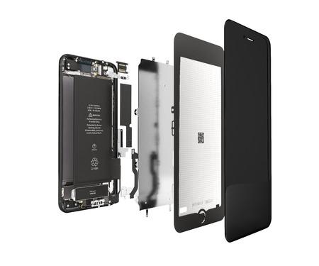 Smartphone in de open staat Illustratie van smartphonecomponenten geïsoleerd op een witte achtergrond 3d render zonder schaduw Stockfoto