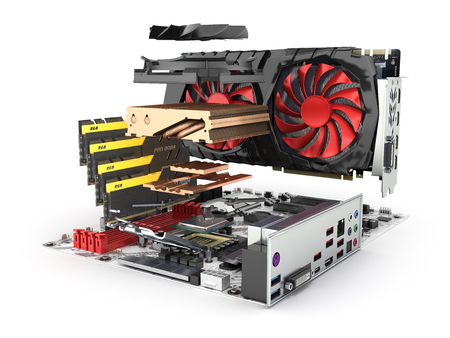 Motherboard complete with RAM and video card in disassembled form isolated on white background 3d render