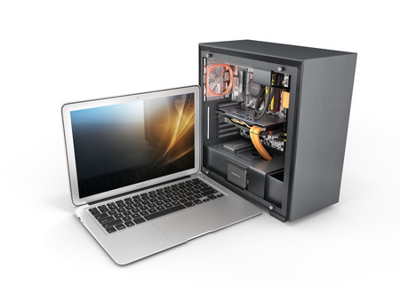 laptop with a powerful desktop computer isolated on white background 3d illustration