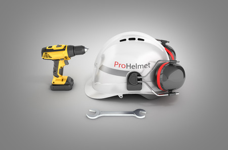 Illustration of construction and repair equipment Protective helmet and screwdriver with a wrench isolated on gray gradient background 3d render Stock Photo