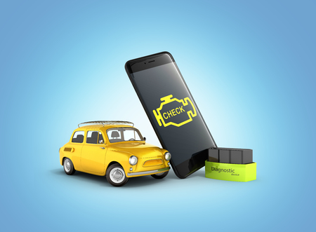 Car diagnostic concept Close up of OBD2 wireless scanner with smartphone and retro car on blue gradient background 3d illustration