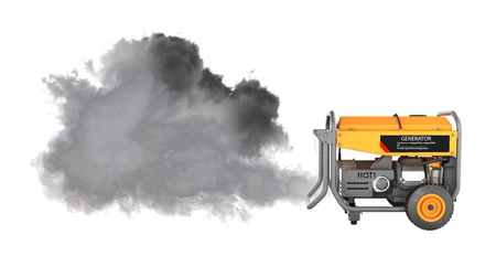 Ecology concept Illustration of pollution by exhaust gases Portable gasoline generator producing a lot of smoke isolated on a white background 3d render without shadow