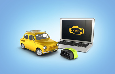 Car diagnostic concept Close up of laptop with OBD2 wireless scanner and retro car on blue gradient background 3d illustration