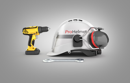 Illustration of construction and repair equipment Protective helmet and screwdriver with a wrench isolated on gray background 3d render