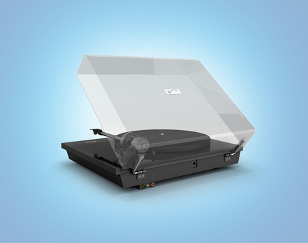 Vinyl turntable player isolated on blue gradient background 3d