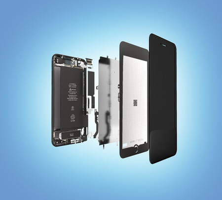 Smartphone in the open state Illustration of smartphone components isolated on blue gradient background 3d render Stock Photo
