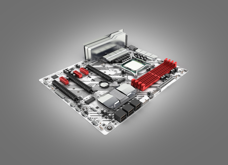 Motherboard with realistic chips and slots isolated on gray gradient background 3d render