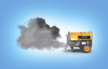 Ecology concept Illustration of pollution by exhaust gases Portable gasoline generator producing a lot of smoke isolated on a blue gradient background 3d render