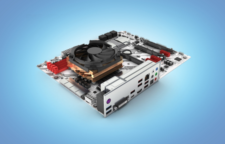 Motherboard with cooling system realistic chips and slots isolated on blue gradient background 3d render Фото со стока