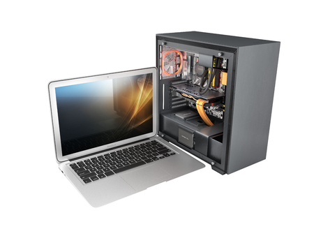 laptop with a powerful desktop computer isolated on white background 3d illustration without shadow  版權商用圖片