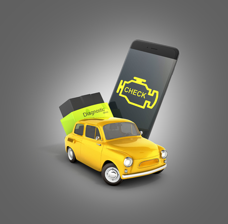 Car diagnostic concept Close up of OBD2 wireless scanner with smartphone and retro car on gray gradient background 3d illustration