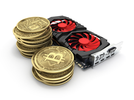 Bitcoin mining Powerful video cards to mine and earn cryptocurrencies concept isolated on white background 3D render
