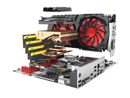 Motherboard complete with RAM and video card in disassembled form isolated on white background 3d render without shadow