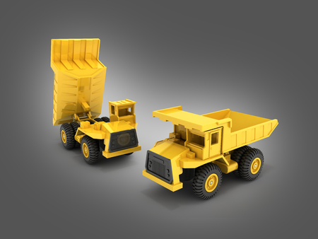 Yellow toy dump truck isolated on gray gradient background 3d render