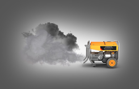 Ecology concept Illustration of pollution by exhaust gases Portable gasoline generator producing a lot of smoke isolated on a gray gradient background 3d render