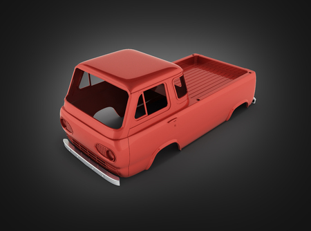 body van with no wheel isolated on black gradient background 3d