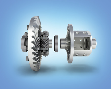 The differential gear in detal on blue gradient background 3d illustration