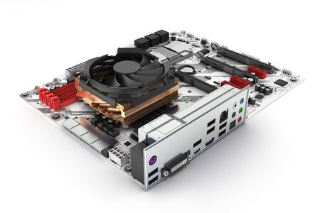 Motherboard with cooling system realistic chips and slots isolated on white background 3d render