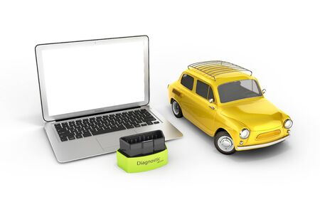 Car diagnostic concept Close up of laptop with OBD2 wireless scanner and retro car on white background 3d illustration Фото со стока