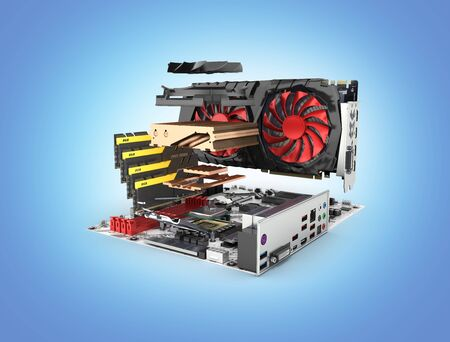Motherboard complete with RAM and video card in disassembled form isolated on blue gradient background 3d render