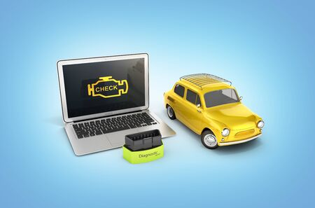 Car diagnostic concept Close up of laptop with OBD2 wireless scanner and retro car on blue gradient background 3d illustration Фото со стока - 150521721