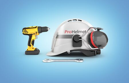 Illustration of construction and repair equipment Protective helmet and screwdriver with a wrench isolated on blue background 3d render Фото со стока - 150370389