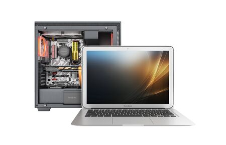 laptop with a powerful desktop computer isolated on white background 3d illustration without shadow