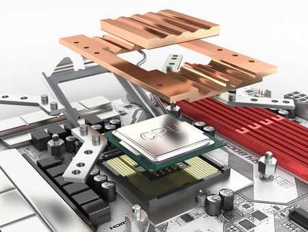 Motherboard with processor and cooling system in disassembled form isolated on white background 3d render Фото со стока