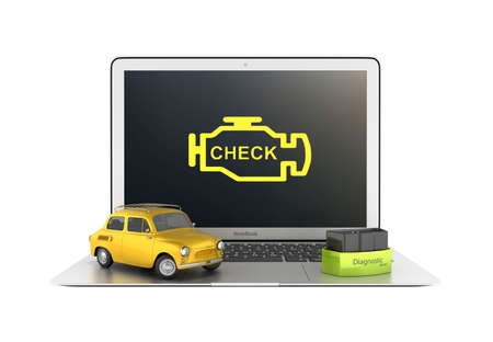 Car diagnostic concept Close up of laptop with OBD2 wireless scanner and retro car on white background 3d illustration without shadow Фото со стока - 150854349