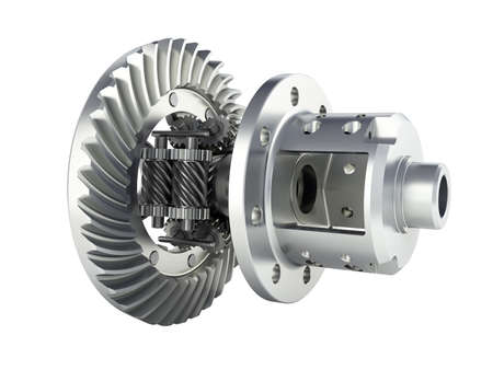 The differential gear in detal on white background 3d illustration without shadow Фото со стока - 150574137