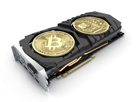 Bitcoin mining Powerful video cards to mine and earn cryptocurrencies concept isolated on white background 3D render Фото со стока - 150854351