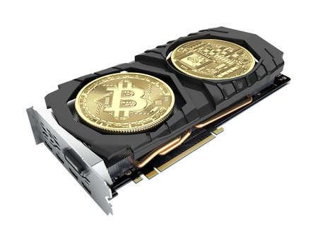 Bitcoin mining Powerful video cards to mine and earn cryptocurrencies concept isolated on white Фото со стока - 150770431