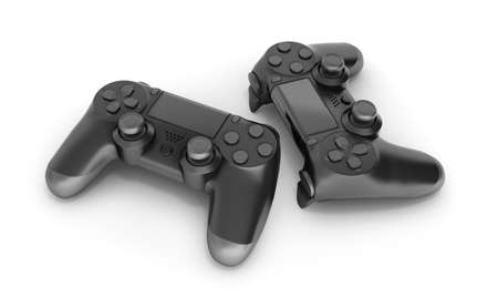 Two black gamepads isolated on white background 3d rendering Фото со стока