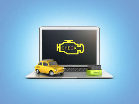Car diagnostic concept Close up of laptop with OBD2 wireless scanner and retro car on blue