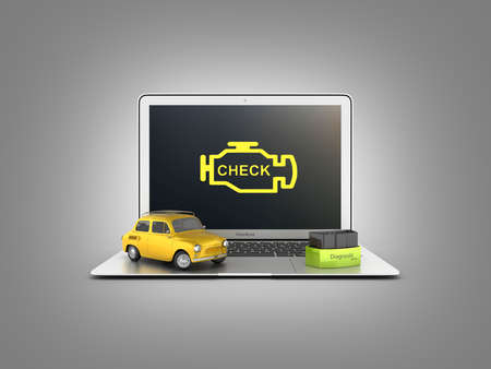 Car diagnostic concept Close up of laptop with OBD2 wireless scanner and retro car on gray gradient background 3d illustration