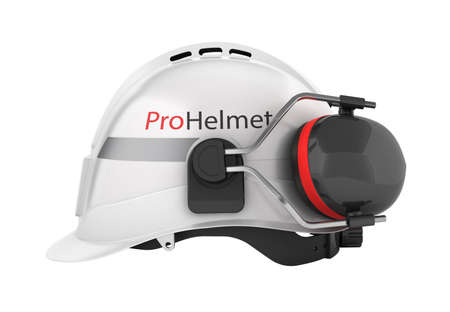 Hard hat safety halmet with earmuffs isolated on white background 3d side view without shadow 版權商用圖片