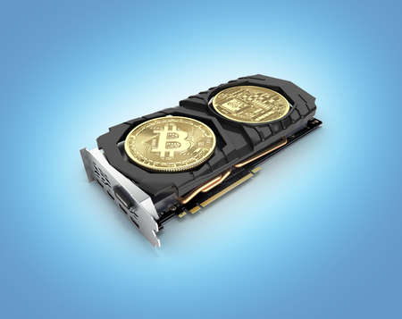 Bitcoin mining Powerful video cards to mine and earn cryptocurrencies concept isolated on blue gradient background 3D render
