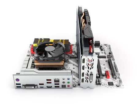 Motherboard complete with RAM and video card isolated on white background 3d render Фото со стока